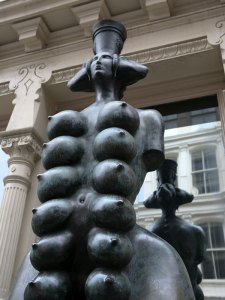 Cybele, the Goddess of Fertility, the sculpture by Mihail Chemiakin, in front of Mimi Ferzt Gallery in Soho, on Prince Street. - 20th century, which closely copies the multi-breasted ancient sculptural depictions of the Roman Goddess Artemis