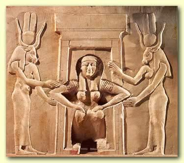 What a relief!  Ancient Egypt - Woman giving birth