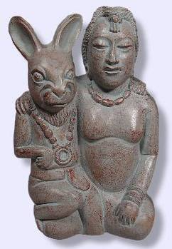 Goddess Ixchel (Mayan) - this is a modern rendition of Ixchel, who, as a fertillity goddess, is pictured with a rabbit, another symbol of fertility.  Allie gave this sculpture to me as a present.