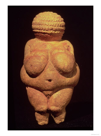 Venus of Willendorf (from the Neolithic period) is a fertility goddess, showing her full, nurturing breasts and a shapely body that is pregnant-ready.